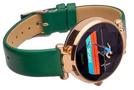 Smartwatch Garett Women Lisa kolor zielono-złoty skórzany