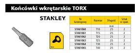STANLEY STA61062 KOŃCÓWKA TORX T20 25 mm 2 szt.