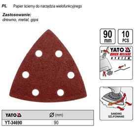 YATO PAPIERY ŚCIERNE DO NARZĘDZIA WIELOFUNKCYJNEGO 10 szt. 34690