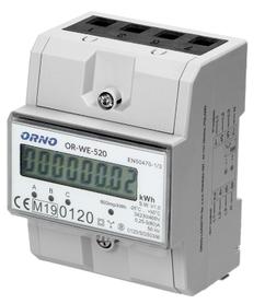 ORNO 3-fazowy licznik energii elektrycznej, 80A, MID, 3 moduły, DIN TH-35mm