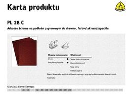 KLINGSPOR ARKUSZE ŚCIERNE NA PODŁOŻU PAPIEROWYM 230mm x 280mm PL28C gr.240 /50szt.