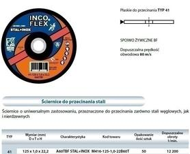TARCZA DO METALU INCOFLEX  125 x 1,0 x 22,2mm STAL + INOX